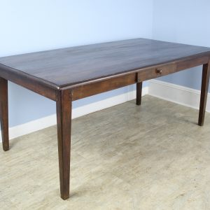 Antique One-Drawer Chestnut Farm Table with Decorative Edge