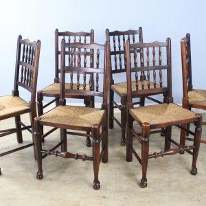 Set of 6 Antique Lancashire Spindleback Chairs