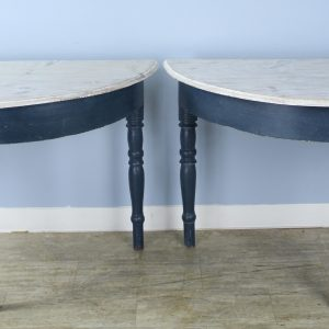 Pair of Antique Swedish Demi-Lune Console Tables, Enhanced Paint